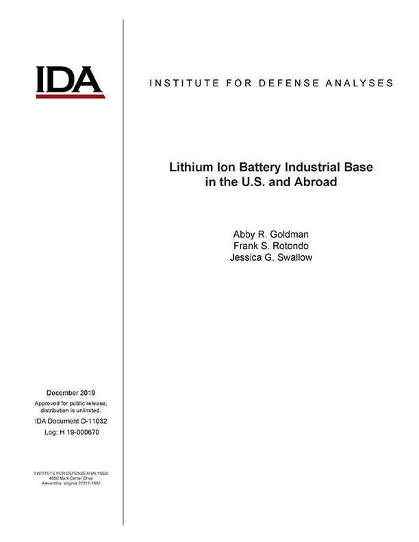 document cover, Lithium Ion Battery Industrial Base in the U.S. and Abroad